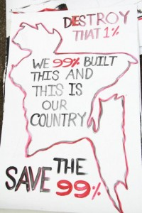 A placard of the Occupy Dhaka Movement
