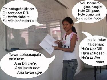 """Una ragazza di Timor Est che parla (in senso orario) Bunak, Tetum, Fataluku e Portoghese. Traduzione: """"In Bunak/Tetum/Fataluku/Portoghese diciamo: io sono in Dili. Ho dei soldi. Non ho soldi."""" Foto di Joao Paulo Esperança (dominio pubblico)."""
