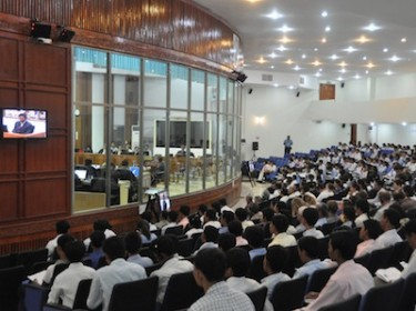 The ECCC court room on 20 July 2009 during testimony of former Khmer Rouge prison guard Him Huy. Courtesy of Extraordinary Chambers in the Courts of Cambodia.