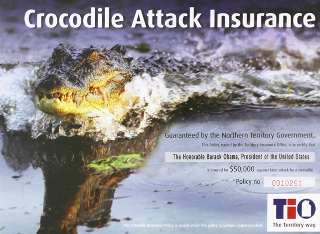 Obama Crocodile Insurance. Image courtesy TIO.