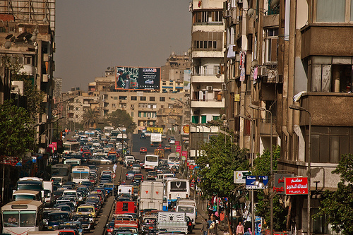Cairo Traffic. Image by Flickr user vagabondblogger (CC BY-NC-SA 2.0).