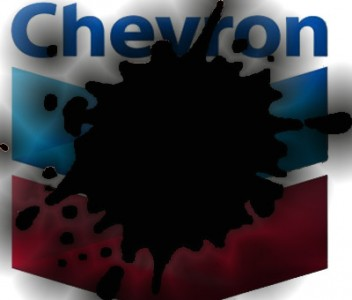 Chevron's logo with an oil spill. Shared on the blog Tijolaço.