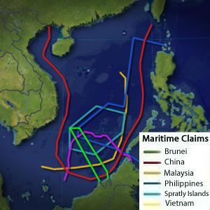 Maritime claims in the South China Sea. Image available on Wikipedia