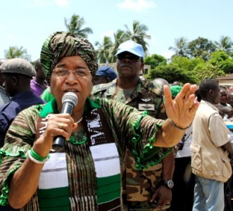 Pres.Sirleaf speaking in Margibi,Liberia.Photo courtesy Cyrus Wleh Badio the Press Secretary to Pres.Sirleaf.