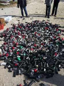 @Peacelooving: Gas and sound bombs used by the police for the suppression of protesters in Abu siba village only.