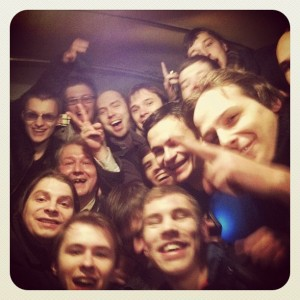 'I'm sitting in a police bus with all the guys. They all say hi.' Photo by Alexey Navalny