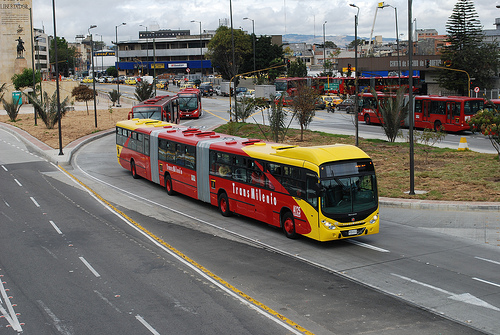 biarticulated bus in Bogota's transmilenio system