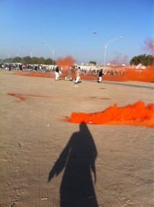 On Twitter, @nashmiq8 posted this photograph saying it is tear gas. Others said it is more likely to be a smoke bomb.