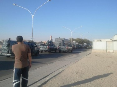 Security vehicles in Taimaa. Photo shared by @althuwaini on Twitter