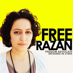A Free Razan poster put up by supporters as soon as news of her arrest spread