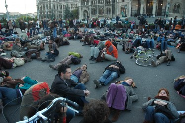 Sit-in in front of Hungarian Parliament for the protection of homeless peoples rights. Image by Janos Kis, copyright Demotix (17/10/11).
