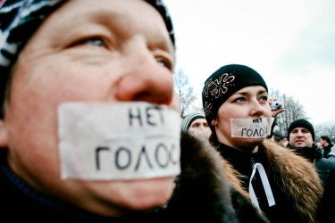 """No voice."" Photo from Saint-Petersburg manifestation. Photo by Salimasafarova (Ridus.ru)"