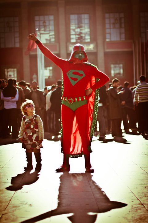 'Moroccan Superman' pausing in front of the parliament. Copyright Amine Hachimoto. Used with permission.