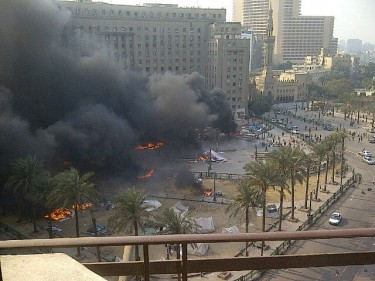 Tahrir Burning. Adam Makary shares this image of Tahrir burning on yfrog