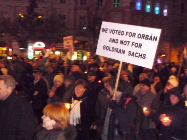'We voted for Orbán and not for Goldman Sachs'. Photo by Redjade, used with permission.