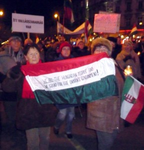 'We are the Hungarian people and we stand for Orbán's government!'. Photo by Redjade, used with permission.