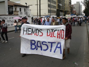 """We've said: enough"" Students protest on November 10, 2011 in Bogotá. Image by Flickr user Juan Camaron (CC BY-NC-SA 2.0)"