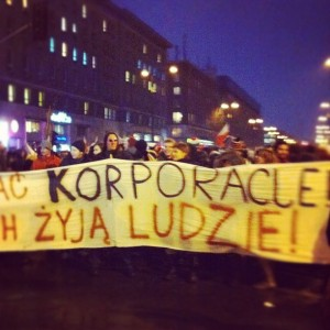 """Screw corporations, long live the people"": many Polish protesters went on the streets on January 24. Photo by Alexey Sidorenko, used with permission."