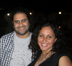 Egyptian blogger Alaa Abd El Fattah poses with his wife and fellow blogger Manal Hassan in Tunis just one month before his arrest