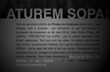 Il sito del Partito pirata della Catalogna oscurato