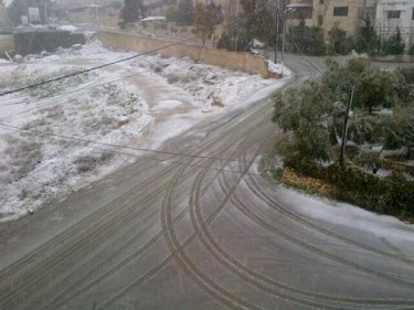 Snow from Basel Anabtawi sister's house in Amman, Jordan. Photo shared on Twitter