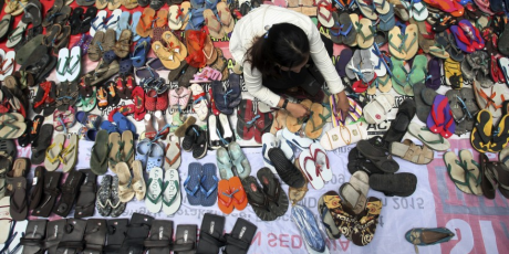 'Sandals for Justice'. Photo from petition page in avaaz.org