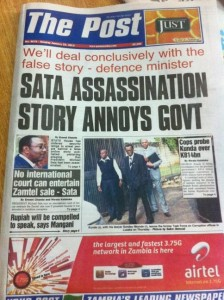 Front page of The Post, Zambia's leading independent newspaper. Image courtesy of @luchi7