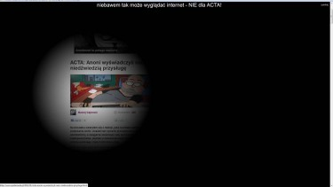 """This is what the Internet might look like very soon. NO to ACTA"" - over 900 Polish websites decided to go dark on January 24 in protest against the treaty. Screenshot: http://spidersweb.pl"