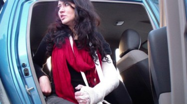 Activist Araoua Barakat was assaulted by police during February, 25 protest photo shared via twitpic