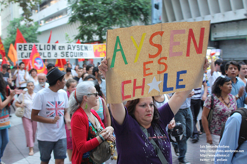 """Aysén is Chile."" Protest in support of Aysén mobilizations, February 20, 2012, Santiago, Chile. Photo by Luis Fernando Arellano, Flickr (CC BY-NC-SA 2.0)"