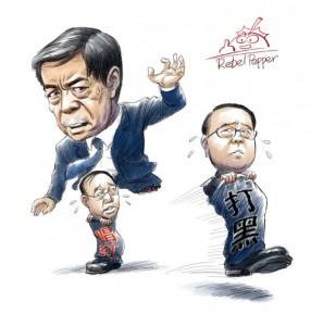 """Bo Xilai am Schlingern: Korruptionsbekämpfer Wang springt weg und lässt den Oberbürgermeister und stellvertretenden Parteisekretär von Chongqing Huang Qifen (""""rote Schriftzeichen"""") zurück; Karikatur von Rebel Pepper."""