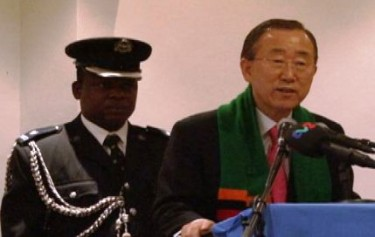 The UN Secretary-General Ban Ki-moon speaking in Lusaka, Zambia. Photo courtesy of zambianwatchdog.com.