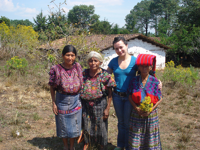 International Lawyer Almudena Bernabeu with Maria Toj and other survivors of Genocide in Guatemala. CC by Renata Ávila