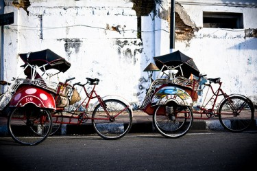 Becak in Indonesia. Photo from Flickr page of Original Nomad used under CC License
