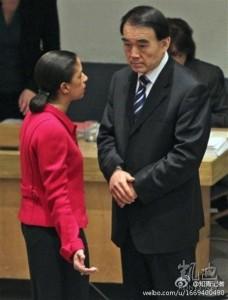 US ambassador to the UN, Susan Rice, confronting Li Baodong, China. Image posted to Weibo.