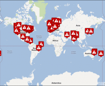 A map on global vigils in solidarity with Tibetans on February 8, 2012.