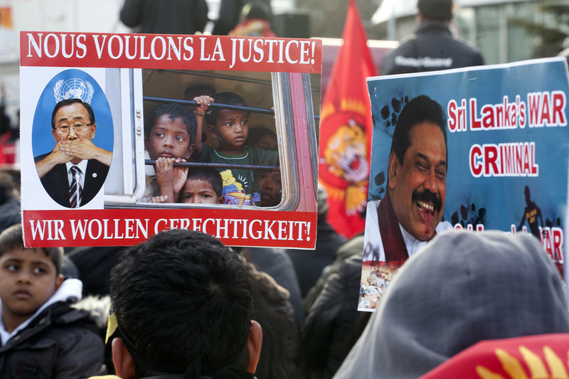 Thousands of Tamils from across Europe came to UN headquarters in Geneva to protest against war crimes in Sri Lanka. Image by Lee Harper. Copyright Demotix (5/3/2012)