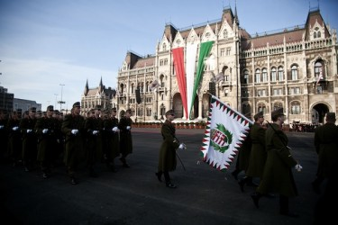 A military parade in Budapest on the National Day of Hungary. Photo by DAVID FERENCZY, copyright © Demotix (15/03/12).