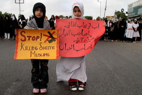 Protest rally of Shi'ite Muslims in Karachi, against Shia target killing in Pakistan. Image by Majid Hussein, copyright Demotix (20/06/2010).
