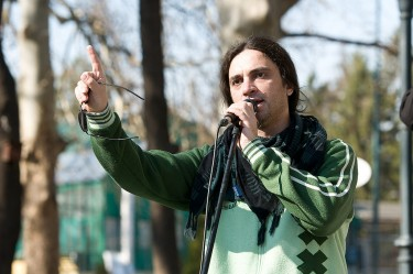 Organizer Petrit Saracini - a musician, a journalist and a writer - speaking at the beginning of the March for Peace. Photo: Vančo Džambaski (CC BY-NC-SA 2.0)
