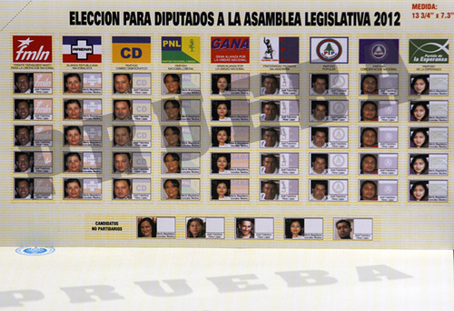 El Salvador 2012 ballot. The new open-list ballot used in the Salvadoran legislative election of March 11, 2012. Image uploaded to Flickr by Matthew Shugart (CC BY-NC-ND 2.0)