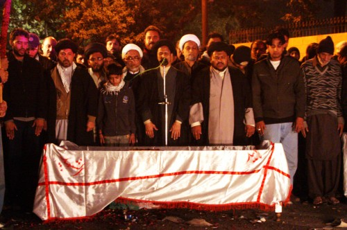 A massive funeral procession for slain Shi'ite leader, Askari Raza. Image by Syed Yasir Kazmi. Copyright Demotix (1st January 2012)
