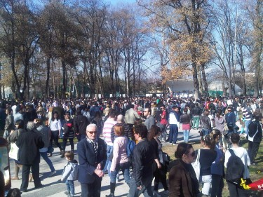 March for Peace: People gathering in Skopje City Park