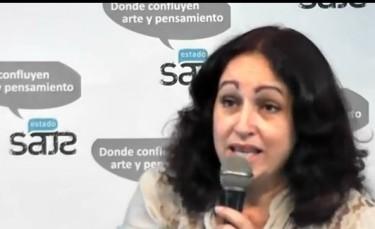 Miriam Celaya speaks at Estado de SATS. Screenshot from video: http://youtu.be/7mHpPALH-XE
