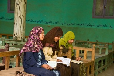 According to UN report in 2006, 41% of the adult females in Egypt are illiterate. Photo courtesy of Ilene Perlman.