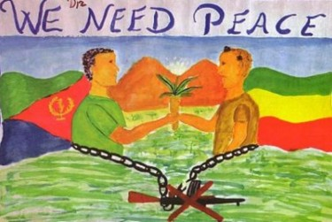 We Want Peace - a painting by Eritrean student Filmon Measfun. Image source: Habesha People Facebook page.