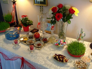 Traditional table decoration of Persian New Year