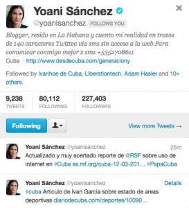 Screenshot of Twitter feed for Yoani Sanchez.