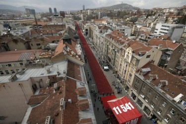 Red chairs are displayed along Sarajevo's main street as the city marks the 20th anniversary of the start of the Bosnian War. 11541 red chairs represent the 11,541 Sarajevans who were killed in the 1992-1995 siege of Sarajevo. Photo by SULEJMAN OMERBASIC, copyright © Demotix (04/06/12)