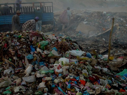 Non-degradable plastics in a garbage dump in Karachi. Image by Syed Yasir Kazmi. Copyright Demotix (15/12/2009).